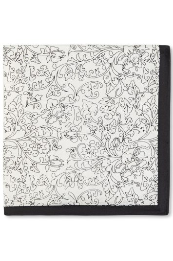 Moss 1851 Black and White Hand Drawn Floral Silk Pocket Square