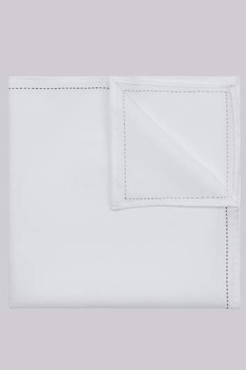 Moss London White Stitch Border Pocket Square