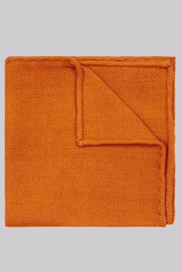 Moss London Orange Herringbone Wool Pocket Square
