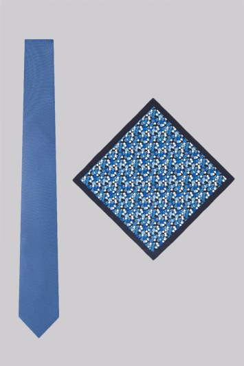 Moss London Blue Bubble Print Skinny Tie and Pocket Square Set
