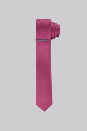 Moss London Pink Skinny Tie With Tie Pin