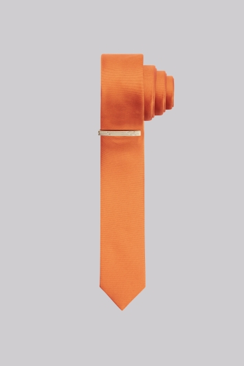 Moss London Orange Skinny Tie With Tie Pin
