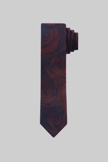 Moss London Navy and Wine Rose Skinny Tie