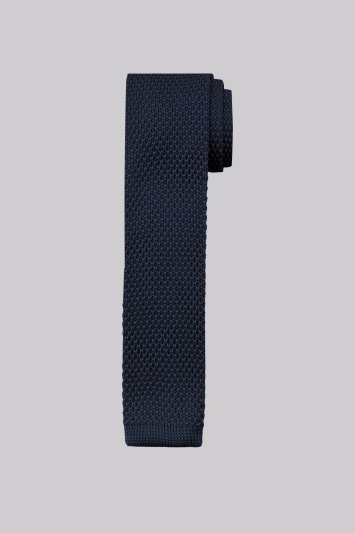 Moss London Navy Knitted Skinny Tie