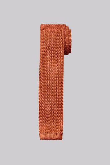 Moss London Orange Knitted Skinny Tie