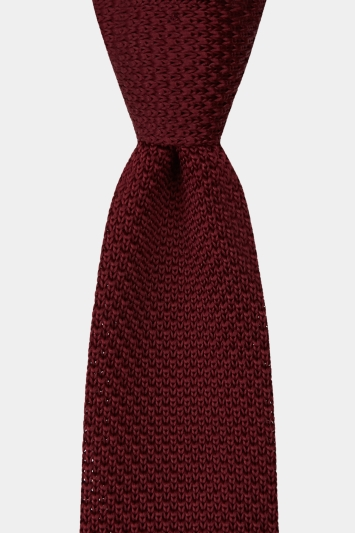 Moss London Wine Knitted Skinny Tie
