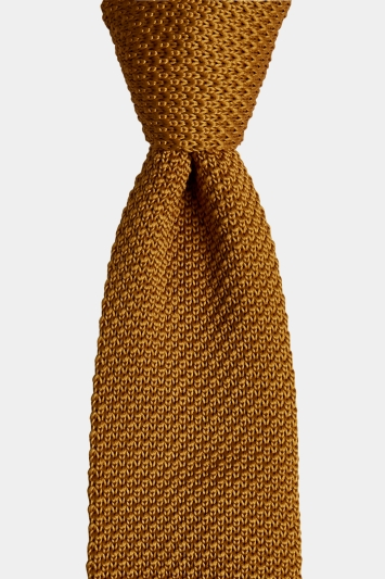 Moss London Mustard Knitted Skinny Tie