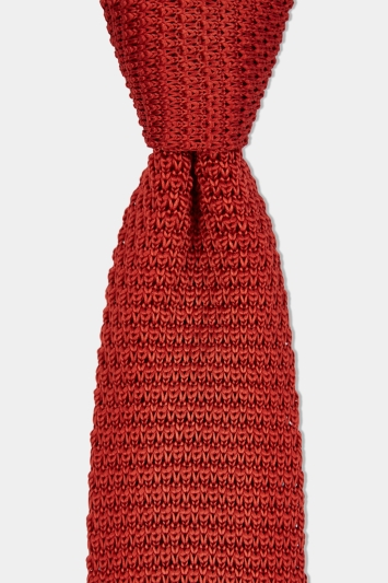 Moss London Brick Red Knitted Skinny Tie