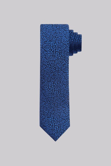 French Connection Navy and Cobalt Blue Floral Vine Silk Tie
