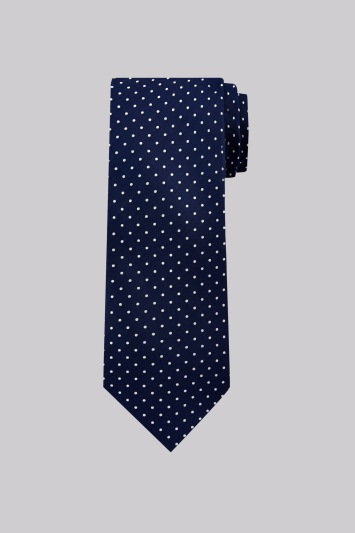 Moss Esq. Navy Mini Spot Silk Tie