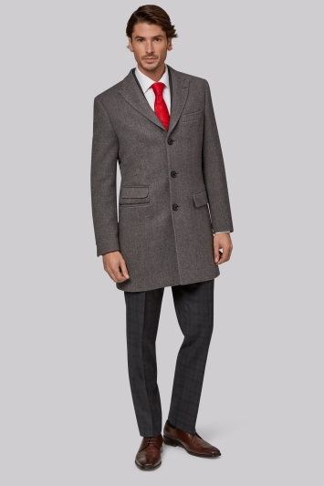 Moss 1851 Tailored Fit Grey Double Faced Overcoat