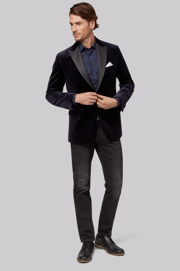 Moss 1851 Tailored Fit Navy Velvet Jacket
