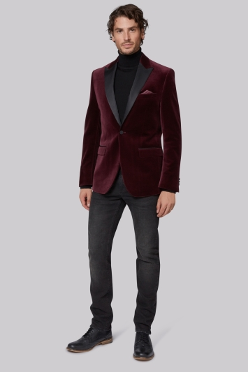 Moss 1851 Tailored Fit Wine Velvet Jacket