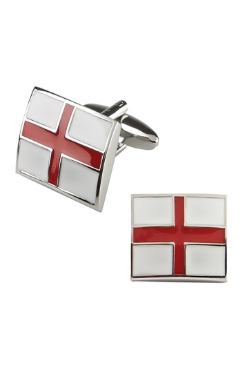 Moss London White and Red England Flag Cufflinks