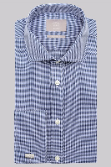 Savoy Taylors Guild Regular Fit Navy Double Cuff Puppytooth Shirt