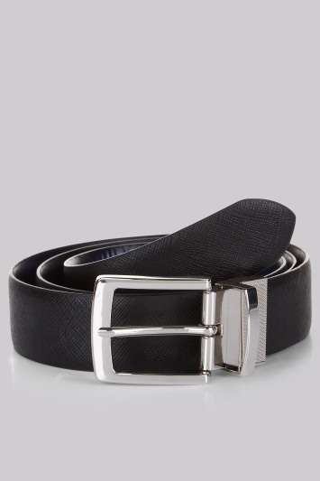 Moss London Black and Navy Reversible Belt
