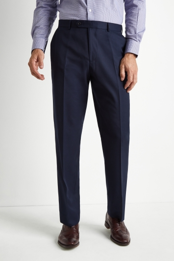 Moss Esq. Regular Fit Blue Twill Suit Trousers