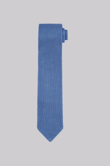 Moss 1851 Sky Blue Knitted Silk Tie
