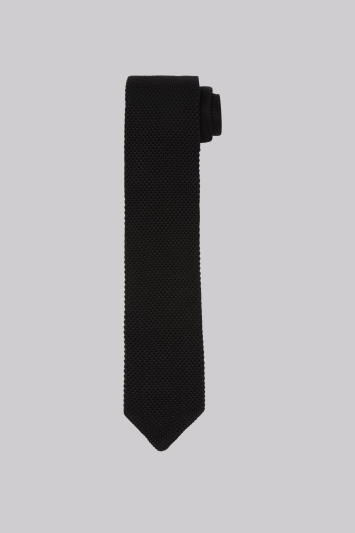 Moss 1851 Black Knitted Silk Tie
