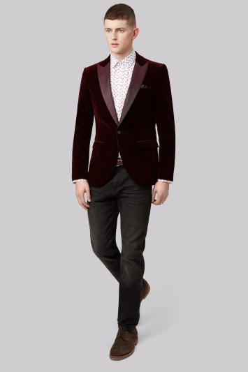 Moss London Slim Fit Wine Peak Velvet Jacket