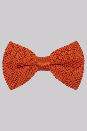 Moss London Orange Knitted Bow Tie