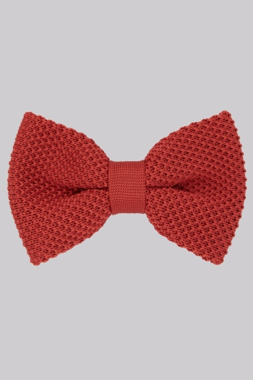 Moss London Rust Knitted Bow Tie