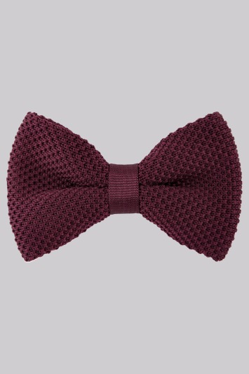 Moss London Wine Knitted Bow Tie