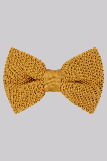 Moss London Mustard Knitted Bow Tie