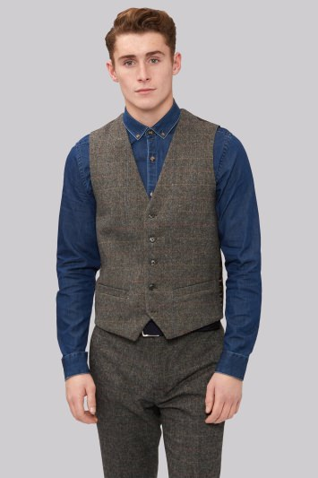 Moss London Slim Fit Light Brown Check Waistcoat