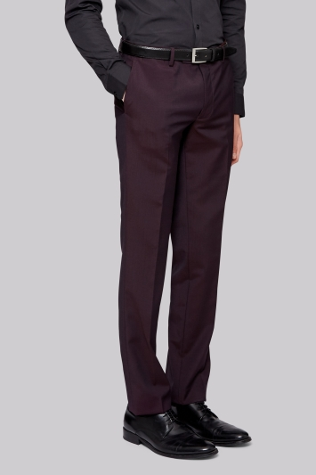 Moss London Skinny Fit Burgundy Suit Trousers