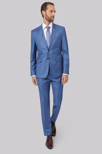 Ted Baker Tailored Fit Light Blue Sharkskin Endurance Suit