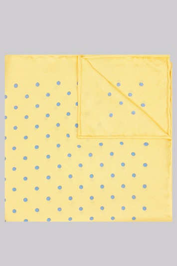Moss 1851 Gold and Sky Blue Spot Silk Pocket Square