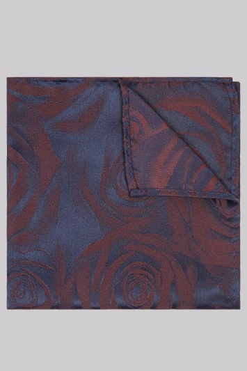 Moss London Navy and Wine Rose Pocket Square