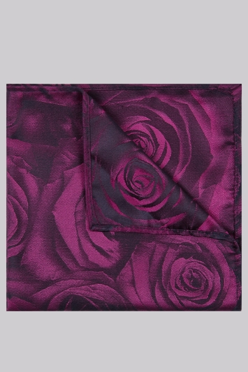 Moss London Fuschia Rose Pocket Square