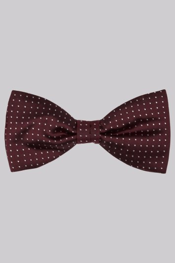Moss 1851 Wine Polka Dot Silk Bow Tie