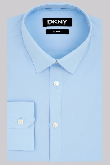 DKNY Slim Fit Sky Blue Single Cuff Shirt
