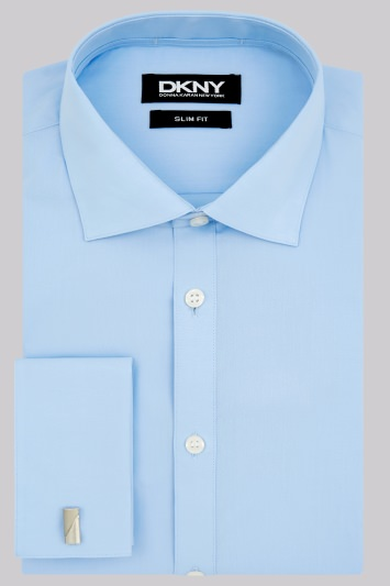 DKNY Slim Fit Sky Blue Double Cuff Spread Collar Shirt
