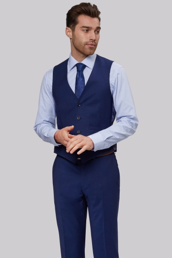 Moss 1851 Performance Tailored Fit Bright Blue Waistcoat