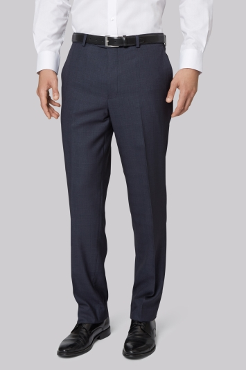Moss Esq. Regular Fit Blue Check Trousers