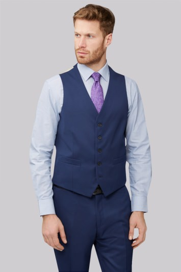 Moss Esq. Regular Fit Bright Blue Waistcoat