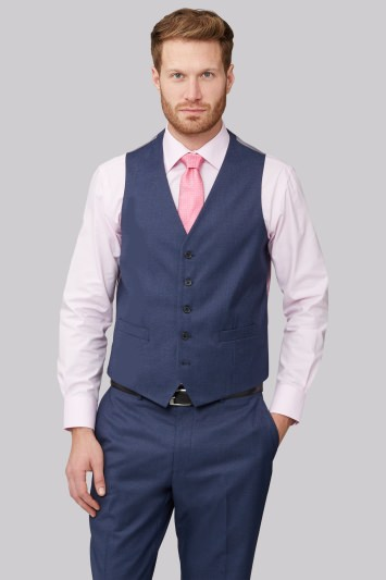 Moss Esq. Regular Fit Bright Blue Textured Waistcoat