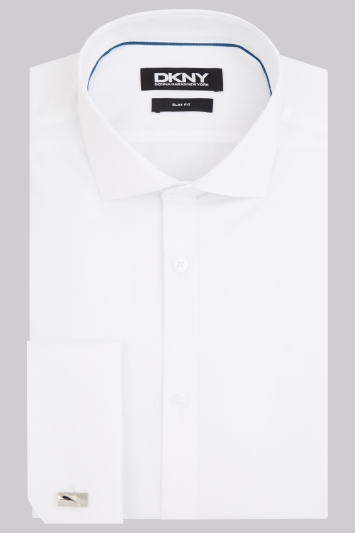 DKNY Slim Fit White Double Cuff Spread Collar Shirt