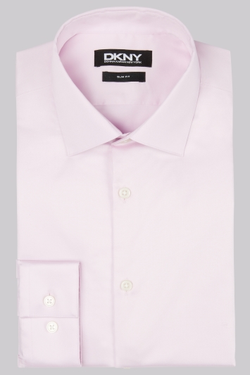 DKNY Slim Fit Light Pink Single Cuff Sateen Shirt