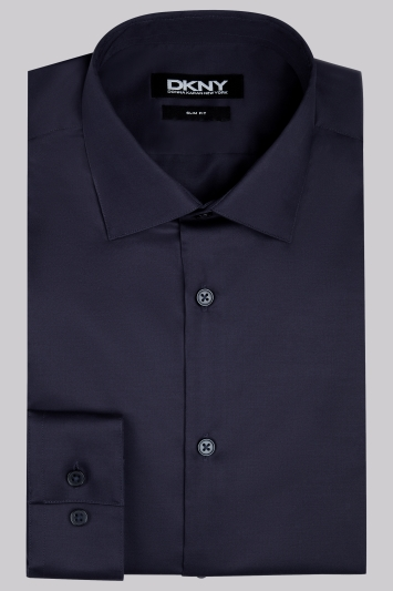 DKNY Slim Fit Navy Single Cuff Sateen Shirt