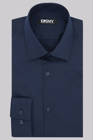 DKNY Slim Fit Dark Navy Single Cuff Sateen Shirt