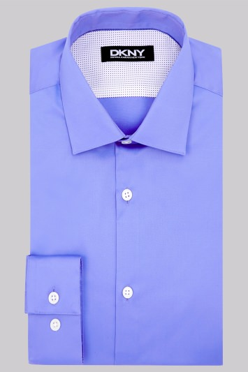 DKNY Slim Fit Blue Single Cuff Sateen Shirt