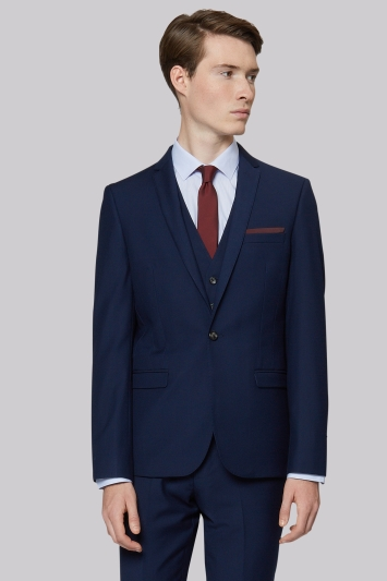 Moss London Skinny Fit Blue Twill Jacket