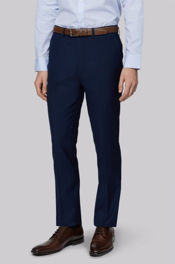 Moss London Skinny Fit Blue Twill Trousers