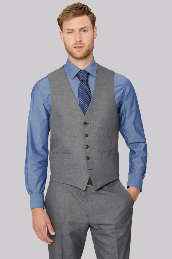 Moss Esq. Regular Fit Silver Grey Sharkskin Waistcoat