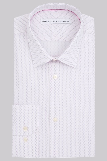 French Connection Slim Fit Lilac Single Cuff Spot Print Shirt